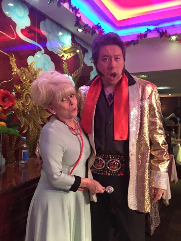 Chinese Elvis gets an unexpected stethoscope in the groinal region.  Sadly (or luckily) what Dame Babs didn't realise is that with Chinese Elvis being now 50, his balls hang at least 18 inches below the belt