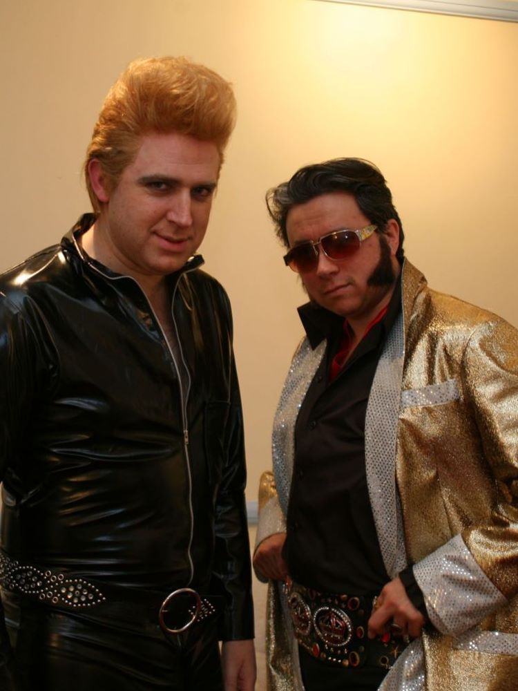 Blonde Elvis with ChineseElvis
