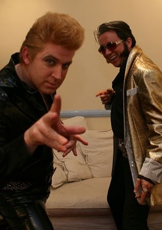 Blonde Elvis Tim Vine with Chinese Elvis Paul Hyu